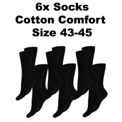 Men's Socks Cotton Comfort, 6Pack Black, Size 43-45