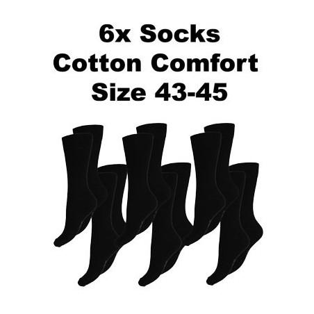 Men's Socks Cotton Comfort, 6Pack Black, Size 43-45