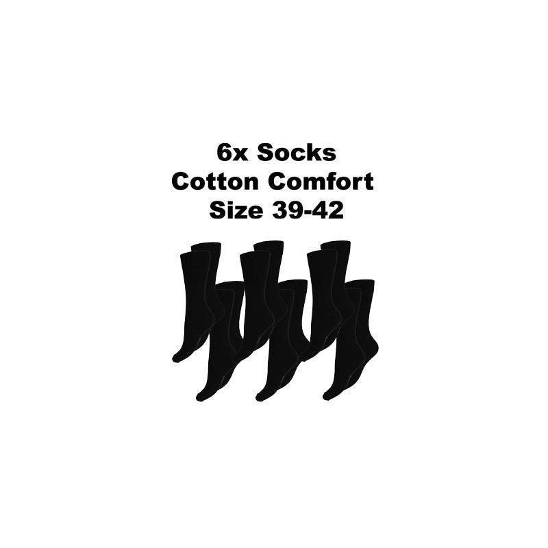 Men's Socks Cotton Comfort, 6Pack Black, Size 39-42