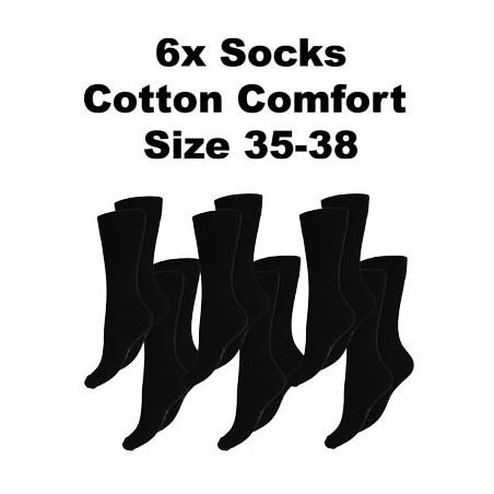 Men's Socks Cotton Comfort, 6Pack Black, Size 35-38